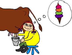 girl milking cow dreaming of ice cream
