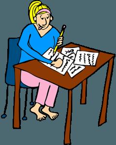 Mom at desk writing