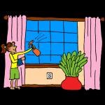 Girl washing windows
