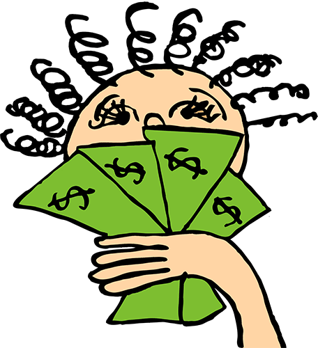 girl with fanned out cash
