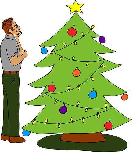 Father looking at Christmas tree