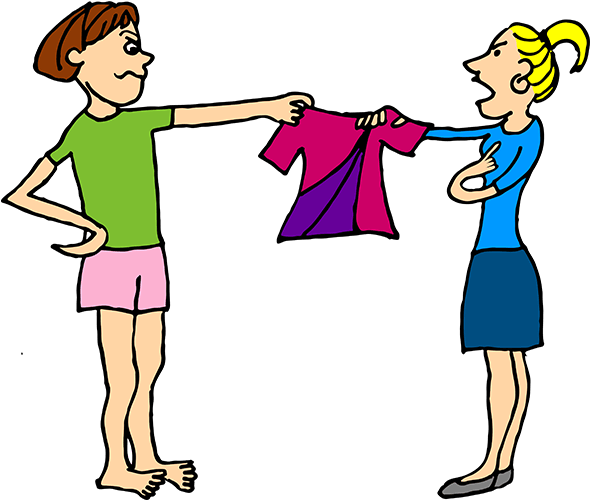 Two girls fight over a shirt