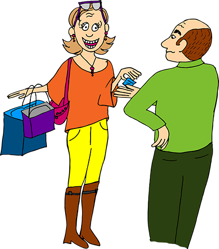 woman shopping credit card husband angry