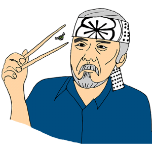 Mr. Miyagi catching a fly with chopsticks