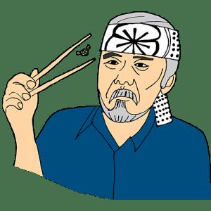 Mr. Miyagi catching a fly with chopsticks